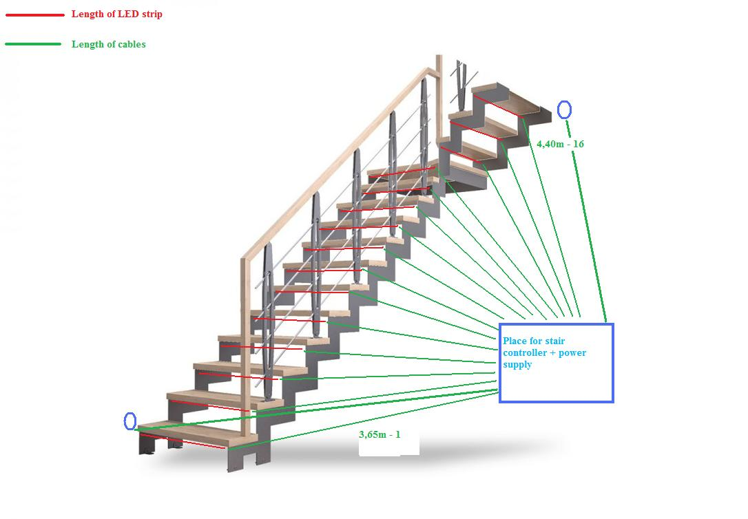 Preparing the electrical installation for stair lighting