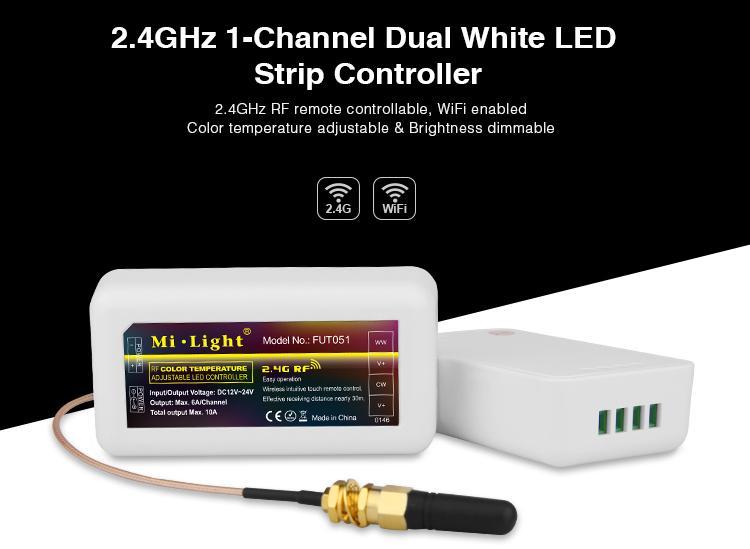 timeless design 959bb c4fe9 MiLight - 2.4GHz 1-Channel Dual White LED Strip Controller - FUT051