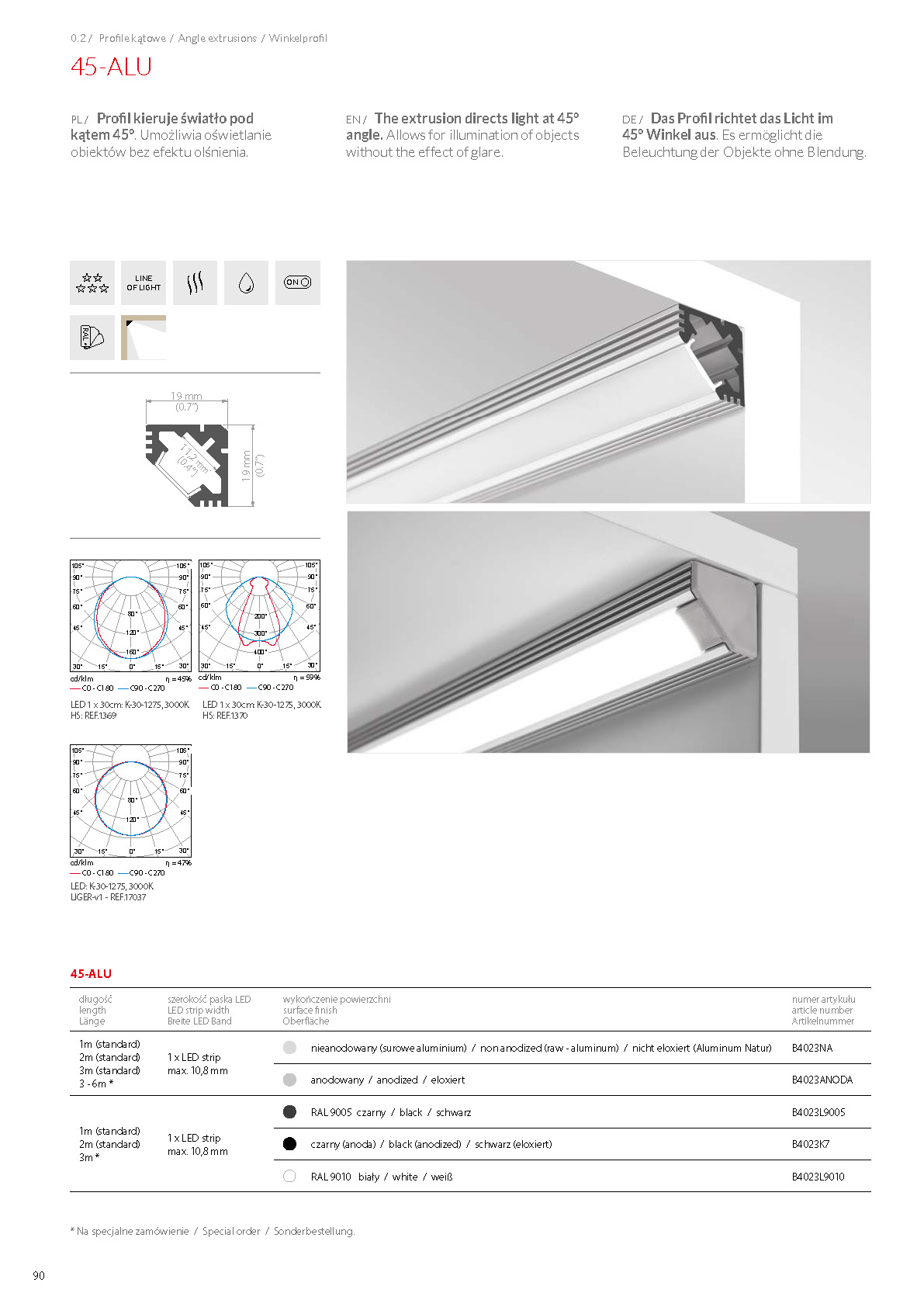 45-ALU, profile | stair-lighting.com, B4023 profile, 45-ALU klus profile, 45-ALU channel,