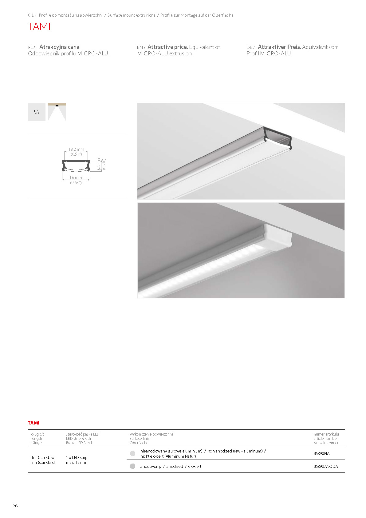 TAMI, profile | stair-lighting.com, B5390 profile, TAMI klus profile, TAMI channel,