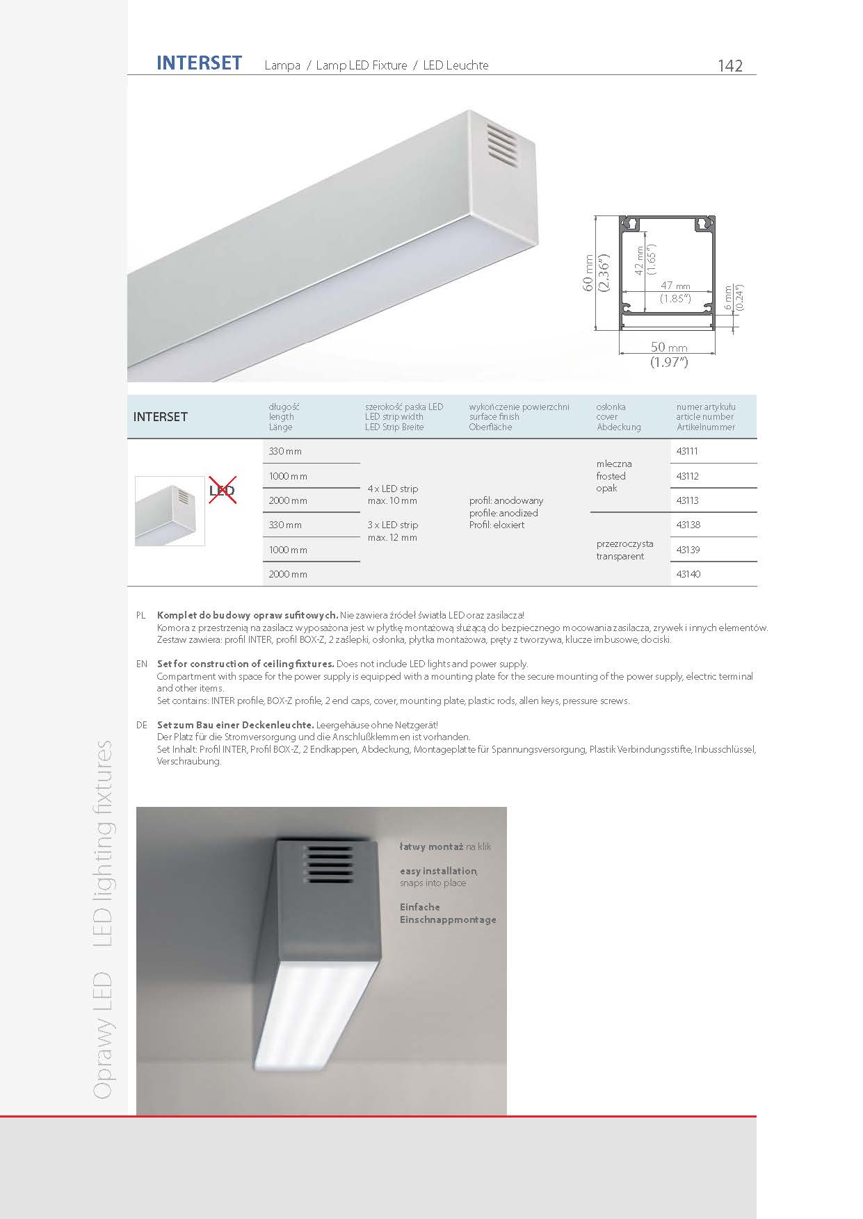 INTER, profile | stair-lighting.com, 18011 profile, INTER klus profile, INTER channel,