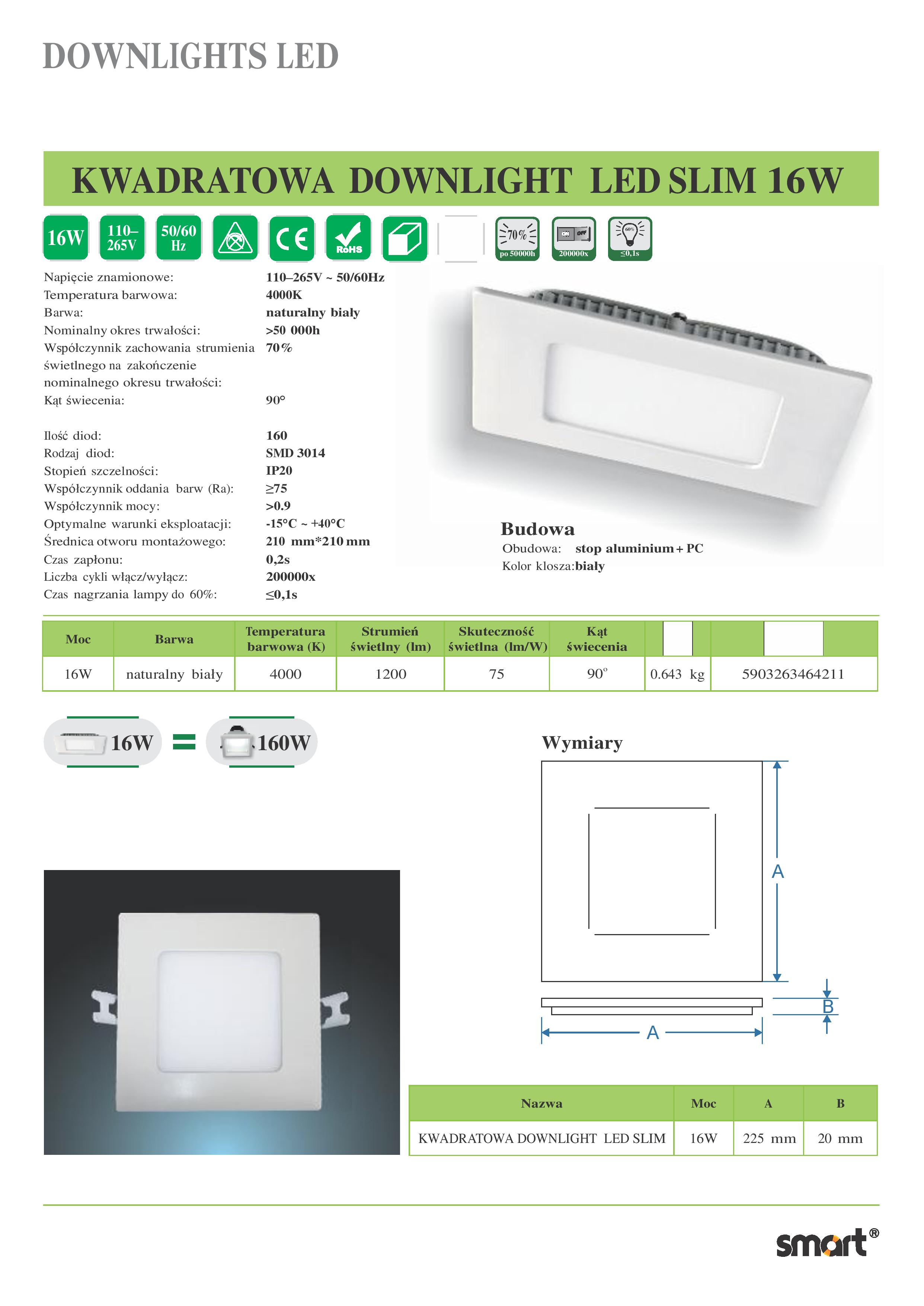 KWADRATOWA-DOWNLIGHT-LED-SLIM-16W