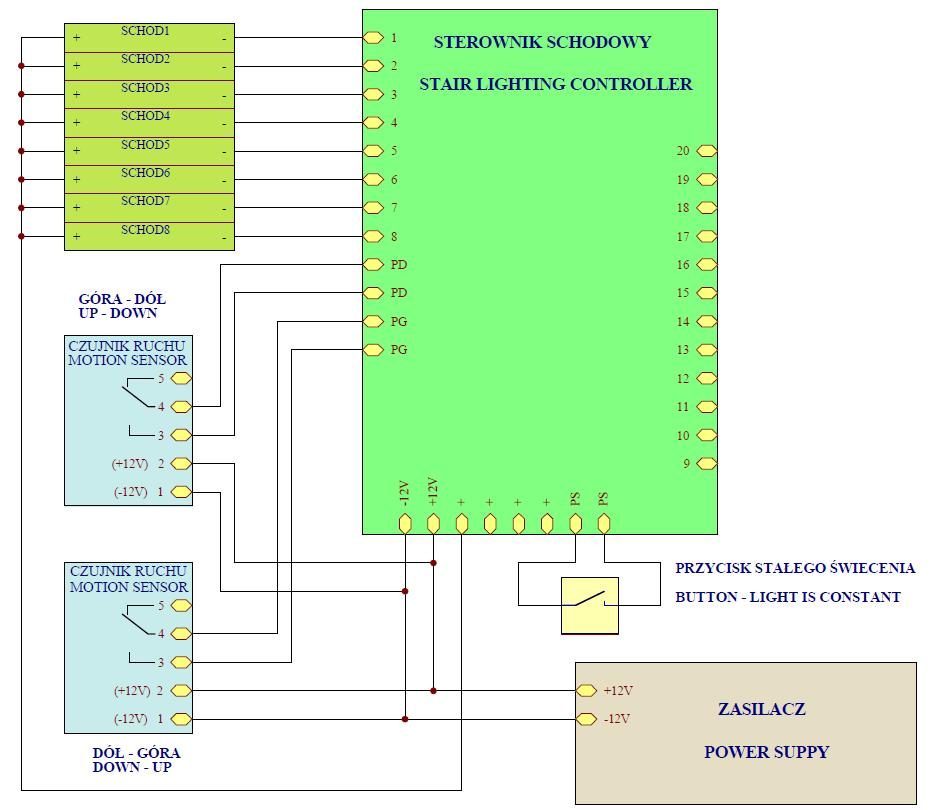 Diagram of electrical installation - the intelligent controller for stairs