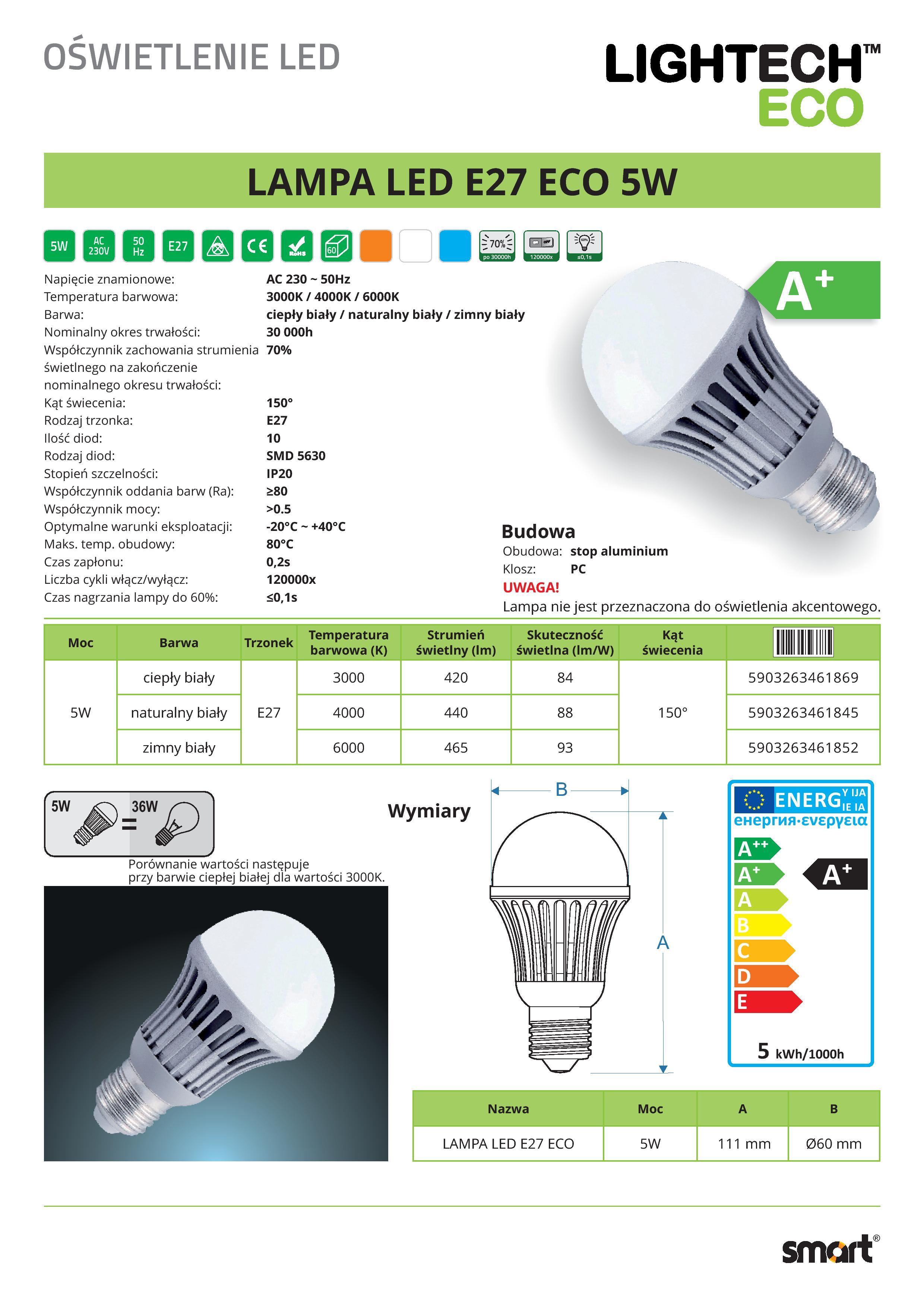 LAMPA_LED_E27_ECO_5W-page-001 Faszinierend Led Leuchtmittel E27 10w Dekorationen